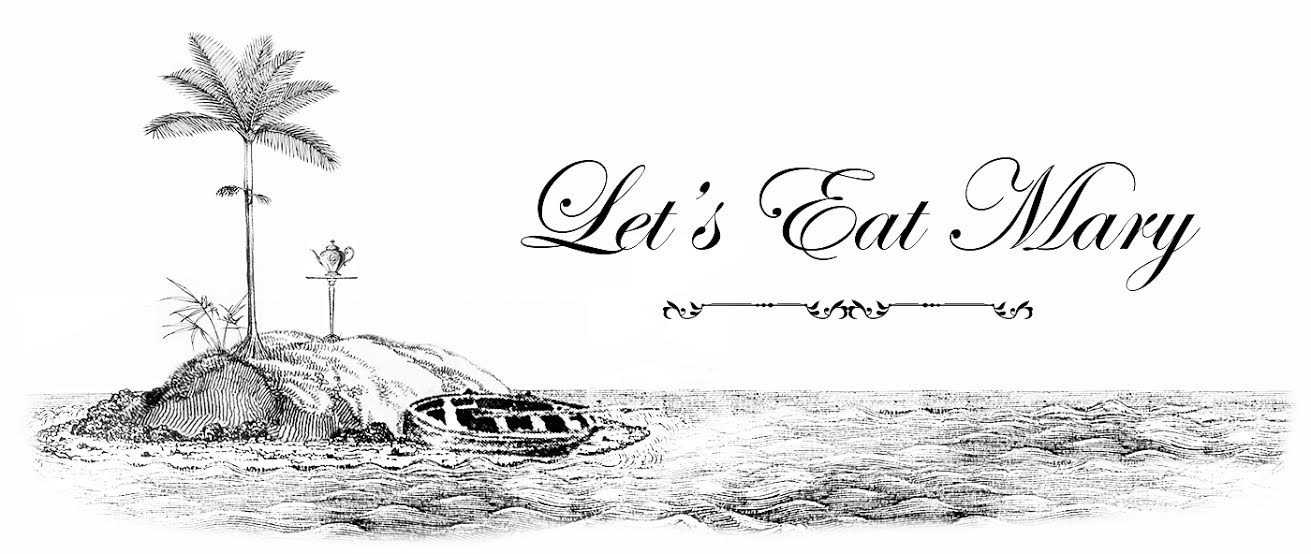 B/W drawing of a tiny island with a tree, a row boat, and a tea pot. Next to the island, text reads: Let's Eat Mary